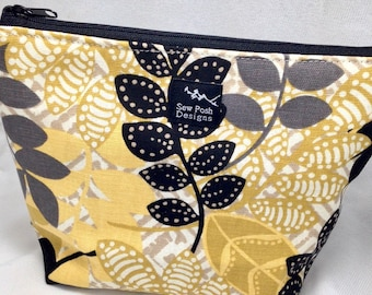 Yellow White Black Gray Leaves Spring Summer Fabric Make Up Cosmetic Pouch Waterproof Lining Small Medium