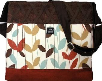 Rust Orange Brown Fall Leaves Velvet Chenille Fabric Large Handbag Purse Hobo Toddler Tote Diaper Messenger Bag Cross Body