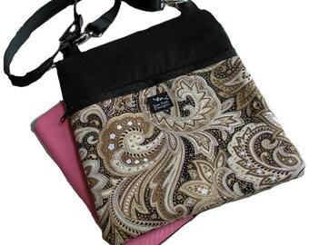 Black Brown Cream Paisley Fabric iPad Kindle Nook Color E Reader Passport Travel Messenger Bag Sling Washable