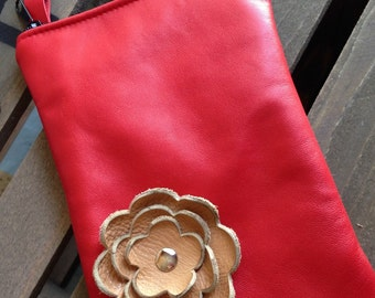 Red Tan Leather Flower Cell Phone Galaxy Iphone Camera Sling Crossbody Case Zipper Pouch Small Purse