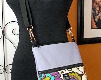 Ipad Kindle Nook Leather Sling Messenger Travel Bag Crossbody Purse Retro Lavender Flowers-Carousel Flowers