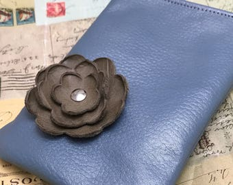 Blue Taupe Poppy Flower Cell Phone Ipod Iphone Droid Gadget Case Zipper Pouch