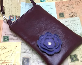 Cabernet Maroon Purple Poppy Flower Cell Phone Ipod Iphone Droid Gadget Case Zipper Pouch