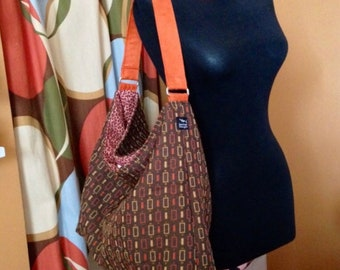 Ready to Ship Brown Rust Fall Geometic Fabric Large Purse Market Bucket Bag Hobo Slouchy Shoulder Handbag Everyday Toddler Tote Diaper