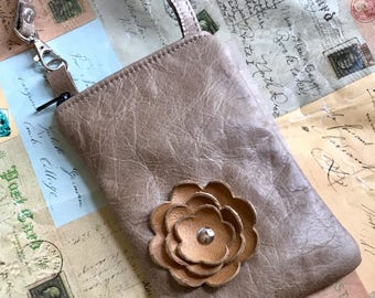 Taupe Butterscoth Yellow Gold Poppy Flower Cell Phone Ipod Iphone Droid Gadget Case Zipper Pouch
