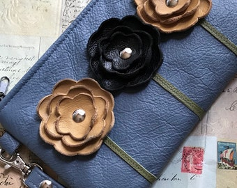 Slate Blue Mustard Black Leather Wristlet Clutch Small Purse Iphone Galaxy Cell Phone Brown Poppy Flowers with Key Fob