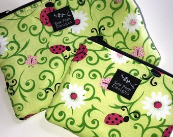 Ladybug White Green Red Cute Daisy Flowers Coin Zipper Pouch Small Wallet Purse Key Fob