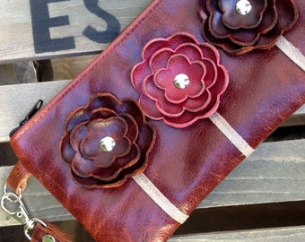 Brown Maple Burgundy Maroon  Distressed Leather Wristlet Clutch Small Purse Iphone Galaxy Cell Phone Brown Poppy Flowers with Key Fob