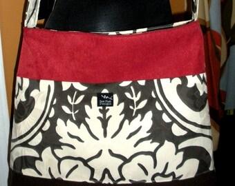 White Brown Red Damask Classic Elegant Fabric Large Purse Hobo Toddler Tote Diaper Messenger Bag Cross Body Color Block
