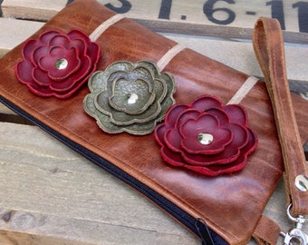Brown Burgundy Olive Green Leather Wristlet Clutch Small Purse Iphone Galaxy Cell Phone Brown Poppy Flowers with Key Fob