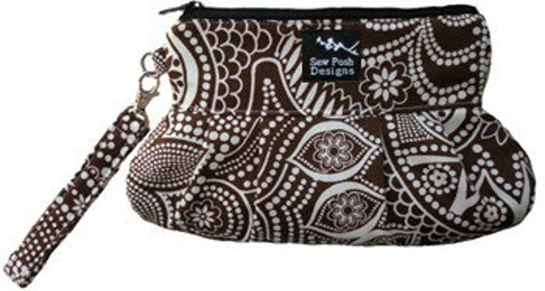 Paisley Brown White Fabric Pleated Wristlet Clutch Iphone image 0