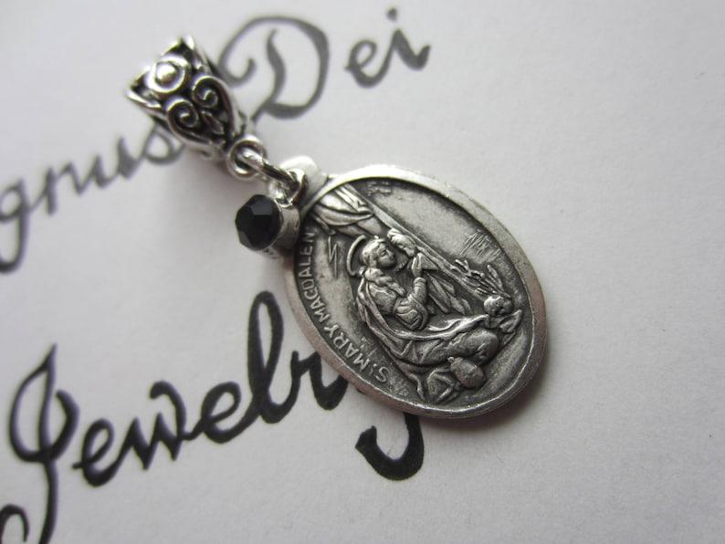 86f959ec3ac St Mary Magdalene Medal & Dk Purple Glass Charm Pendant | Etsy