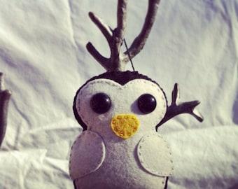 wool felt penguin christmas ornament