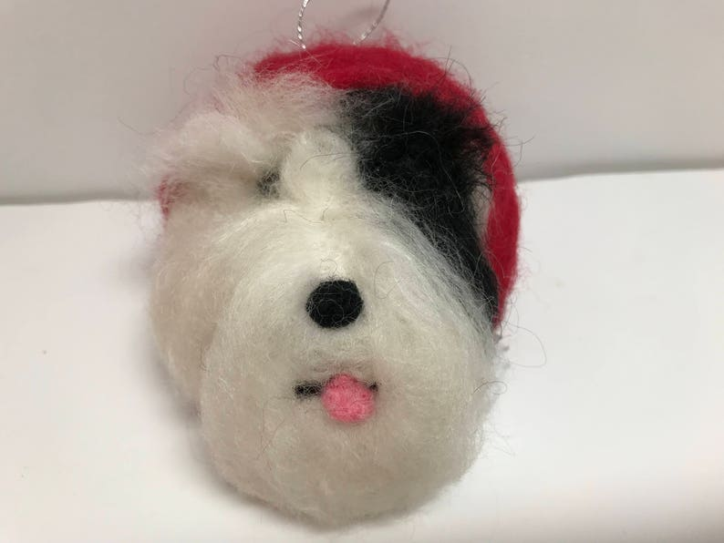 Needle Felted Sheepadoodle, Christmas ornament, Sheepadoodle ornament, wool  dog head, ready to ship