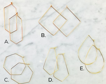 Minimalist Hoop Earrings gold,rose gold,sterling,modern,hexagon,Raindrop,Kite,Diamond,geometric,minimalist,gift idea,christmas present