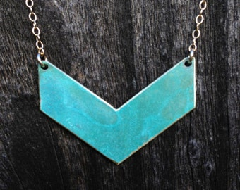Chevron Patina Necklace-brass, gold,modern, minimalist,chevron,turquoise,necklace, custon,metalwork,gift idea,christmas present