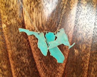 "Patina ""I Left my Heart in"" 3 States Necklace-turquoise,brass,gold,state love,something blue,wedding,modern,mom,gift idea,christmas present"