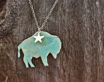 Patina Buffalo Necklace-Wyoming,Colorado, yellowstone,buffalo,CU,buffs,gold,brass,patina,turquoise,Montana,bison,gift idea,Christmas present
