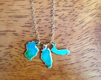 "Tiny ""I left my Heart in"" 3 State Patina Necklace or Bracelet"