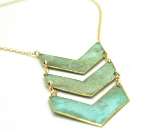 Triple Chevron Patina Necklace unique, one of a kind, statement jewelry, turquoise, patina, gold fill, brass, gift idea, christmas present