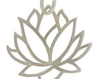 Silver Lotus Flower Pendant, Lotus Flower, Lotus Flower Pendant, Lotus Flower Charm, Silver Lotus Flower, Lotus, Large Lotus Flower
