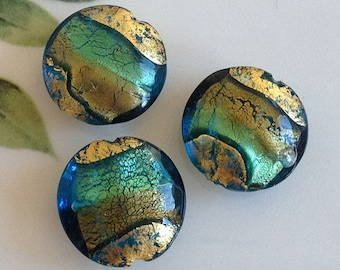 Murano Glass Beads, Acqua Oro, Venetian Beads, Murano Beads, Venetian Glass Beads, Italian Glass Beads, Italian Beads, Murano Glass, 20mm