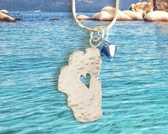 """Tahoe Necklace with Crystal, 7/8"""", Lake Tahoe Necklace, Tahoe Sterling Silver Necklace, Tahoe Jewelry, Lake Tahoe, Tahoe Heart Necklace"""