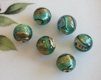 Murano Glass Beads, Acqua Oro, Venetian Beads, Murano Beads, Venetian Glass Beads, Italian Glass Beads, Italian Beads, Murano Glass, 12mm