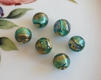 Murano Glass Beads, Acqua Oro, Venetian Beads, Murano Beads, Venetian Glass Beads, Italian Glass Beads, Italian Beads, Murano Glass, 10mm