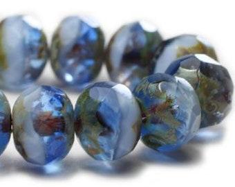 Sapphire Sky Czech Beads, Strand of 25, Czech Rondelle Beads, Czech Glass Beads, Antique Style Beads, Picasso Beads, Glass Beads