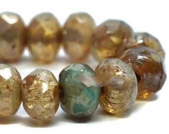 Champagne Czech Beads, Tiny Beads, Strand of 30, Czech Rondelle Beads, Czech Glass Beads, Antique Style Beads, Picasso Beads, Glass Beads