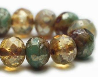 Champagne Czech Beads, Strand of 25, Czech Rondelle Beads, Czech Glass Beads, Antique Style Beads, Picasso Beads, Glass Beads