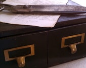 SALE  VinTagE DarK MeTal CaBineT 2 DraWers