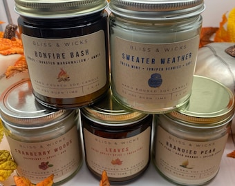 Fall Scented Soy Candles - Sweater Weather, Bonfire Bash, Leaves, Cranberry Woods and Brandied Pear | Autumn Scented Candle | Fall Candles