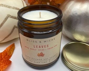 Leaves Jar Candle | Autumn Candle | Apple Candle | Fall Scented Candle | Rustic Decor | Soy Candle