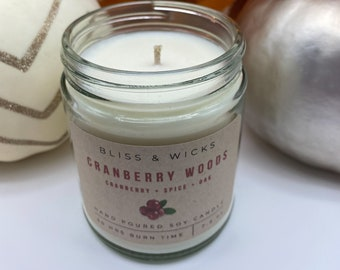Cranberry Woods Candle | Fall Candle | Cranberry Candle | Soy Candle | Autumn Candle