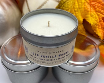 Iced Vanilla Wood Candle Travel Tin | Fall Soy Candle Tin | Woodsy Fall Candle | Fall Scented Candle | Autumn Candle
