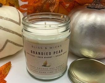 Brandied Pear Candle | Fall Soy Candle | Soy Candle Jar | Autumn Candle | Fall Scented Candle