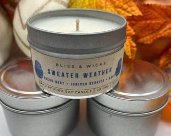Sweater Weather Fall Soy Candle Travel Tin | Apple Candle | Autumn Candle | Sweater Weather | Fall Candle