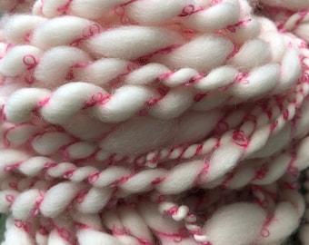 Hand spun Art yarn hand spun hand dyed green and cranberry bulky 2 ply knitting supplies crochet supplies Waldorf doll hair wool baby photo