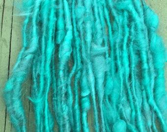 Handspun Angora Bunny Art yarn hand spun chunky bulky knitting  crochet supplies Waldorf doll hair wool mohair