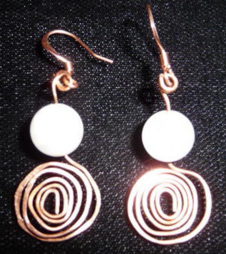 Hammered Copper Earrings Moonstone Swirl 1 image 0