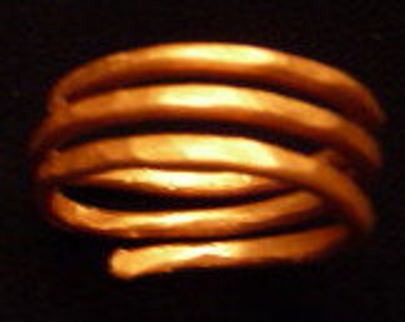 Hammered Copper Three Band Ring Size 9 image 0
