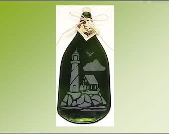 Recycled Wine Bottle Plate, Lighthouse