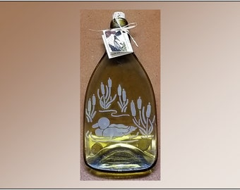 Recycled Wine Bottle Plate, Duck Pond