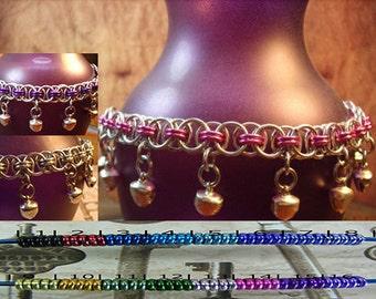 BDSM Gorean Slave Bell Chainmaille Anklet Silver Base