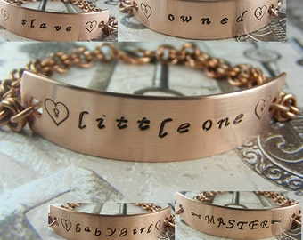 BDSM Gorean Handstamped Copper Chainmaille Bracelet