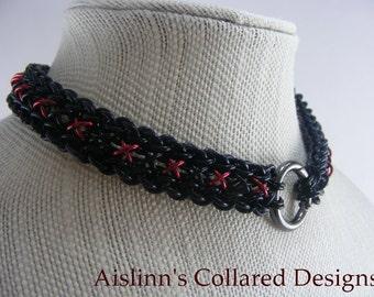 Black and Red Raven's Braid BDSM Gorean Slave Daywear Collar Choker Necklace