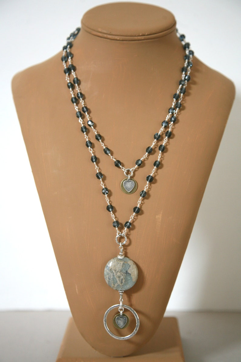 Soft Pastel Powder Blue Aqua Terra Jasper Two Strand Eyeglass Necklace, ID Lanyard, Badge Holder Necklace, Blue Eyeglass Lanyard