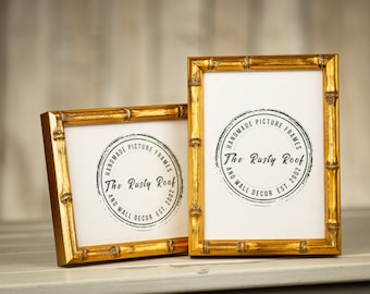 Bamboo Picture Frame - Gold Bamboo- Aged Black Bamboo - Natural - 8x10 - 5x7 - 11x14 - 16x20 - Choose Your Size- Old World Frames